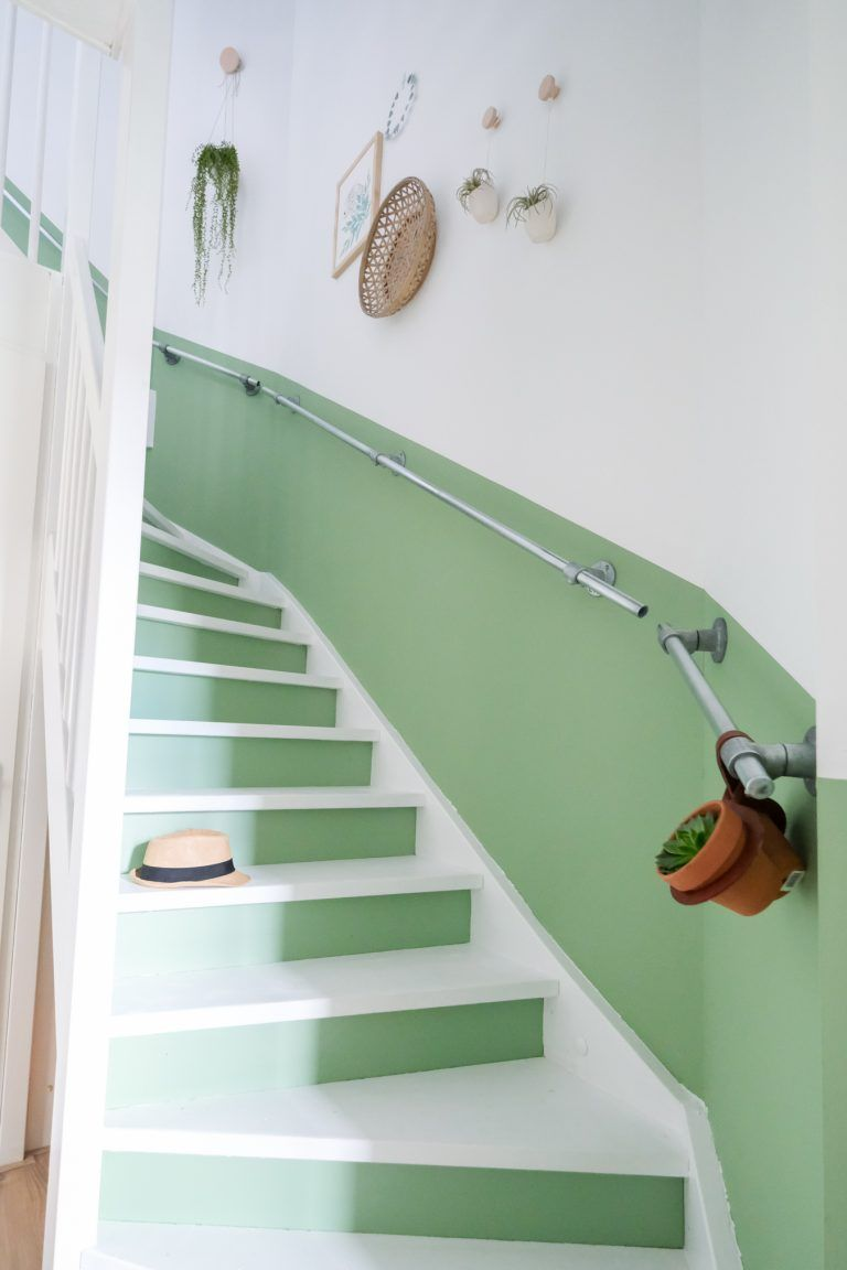 stairs, white and green wall, white green stairs