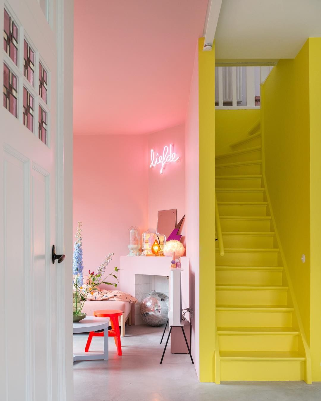 stairs, yellow stairs, yellow wall, pink wall