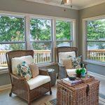 Sunroom, Grey Floor Tiles, Grey Wall, Rattan Chairs, Rattan Chest Coffee Table, Striped Rug