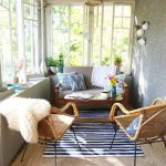 Sunroom, Striped Rug, Grey Wall, White Wall, Wooden Bench With Grey Cushion, Rattan Chairs