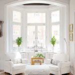 Window Bay, Wooden Floor, White Wall, White Chairs, White Ottoman, Wooden Side Table, Arch