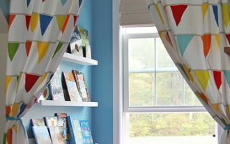 window nook, blue wall, white framed window, white floating shelves