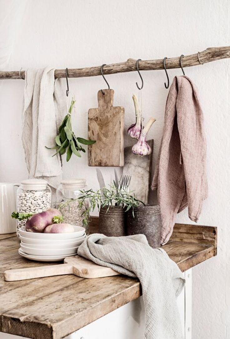 wooden hanging rod, metal hooks, wooden table top