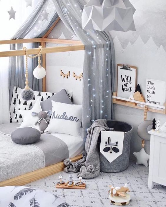 baby room, wooden tent platform, white cushion, white floor, wooden floating shelves, white side table