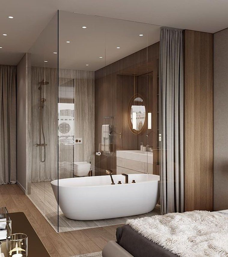 bathroom, glass wall, grey curtain, wooden wall, white rub, white vanity cabinet, white toilet, round mirror