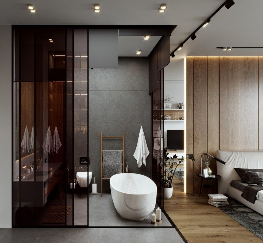 bathroom, grey floor, grey wall, white tub, white floating vanity, ,black glass wall