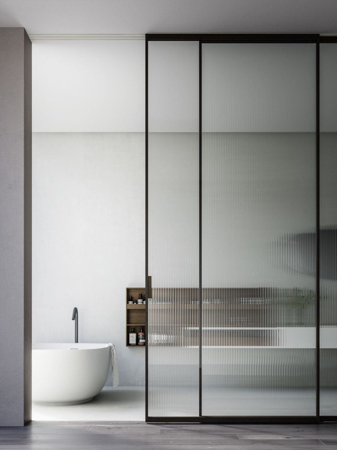 bathroom, grey floor, white wall, glass sliding door