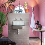 Bathroom, Grey Herringbone Floor Tiles, Pink Wall, Pink Arch Ceiling, White Brick Partition