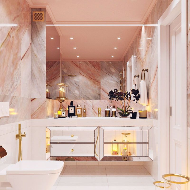 bathroom, mirror vanity cabinet, large mirror, pink marble wall, white toilet