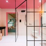Bathroom, Pink Wall Tiles, Pink Ceiling, White Floor Tiles, Black Console Table, White Toilet, Glass Partition