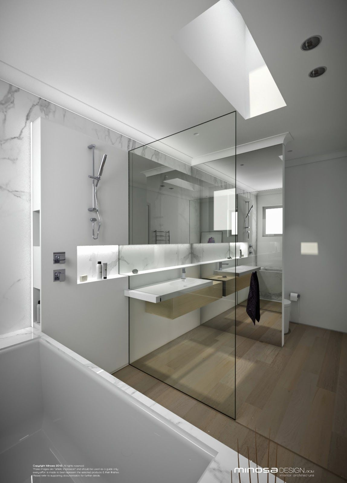 bathroom vanities, white wall, white marble wall, white floating vanity, wooden floor, glass partition