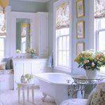 Bathroom, White Floor Tiles, White Tub Clawfoot, White Cabinet, White Framed Window, White Chair