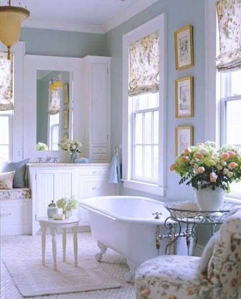 bathroom, white floor tiles, white tub clawfoot, white cabinet, white framed window, white chair