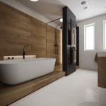 Bathroom, White Floor, Wooden Floor, Wooden Wall, White Wall, Black Marble Accent, Woodden Vanity