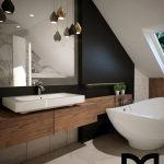 Bathroom, White Marble Floor, Wooden Floating Vanity, White Sink, Black Wall, White Vaulted Ceiing, White Tub, Pendants
