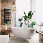 Bathroom, White Tub, Brown Wall, White Floor, Woven Mat, Rattan Basket, Wooden Pendants