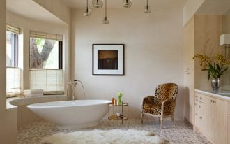 bathroom, white wall, cream neutral cabinet, white tub, pendants, windows, chair