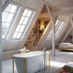 Bathroom, White Wooden Floor, White Wooden Vaulted Ceiling, White Tub