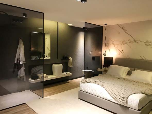 bathroom, wooden floor, gey wall, black glass partition, floating vanity, white sink,