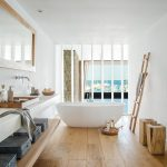 Bathroom, Wooden Floor, White Wall, White Grid, White Floating Vanity Table, Wooden Floating Shelves, Wooden Ottoman, White Tub