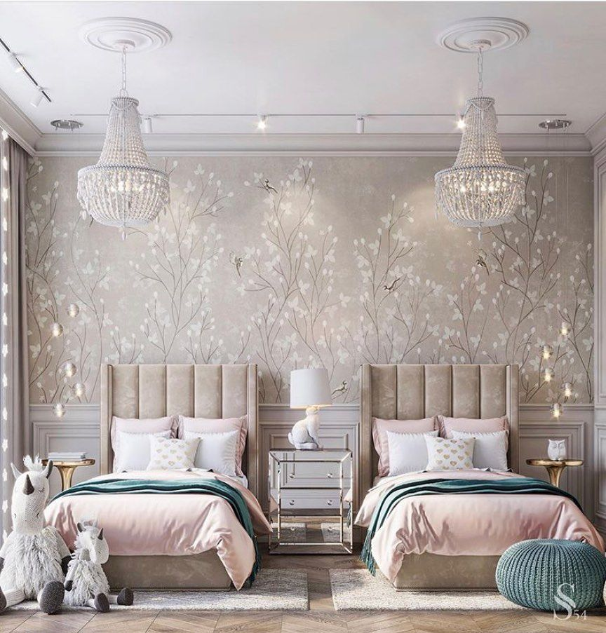 bedroom, grey wall, wallpaper, chandeliers, brown headboard, two beds, pink blanket