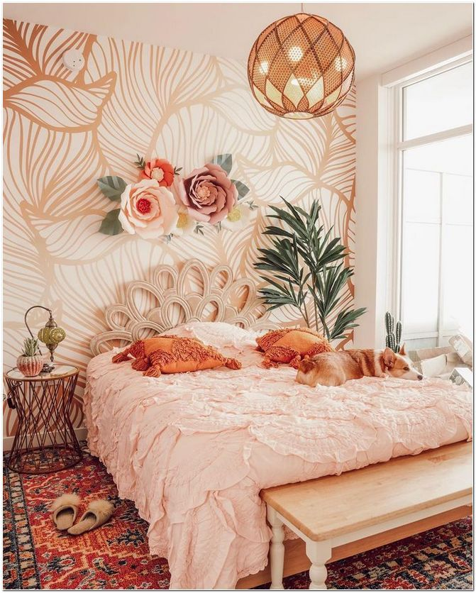 bedroom, patterned rug, white bedding, wooden bench, side table, round pendant, rattan headboard