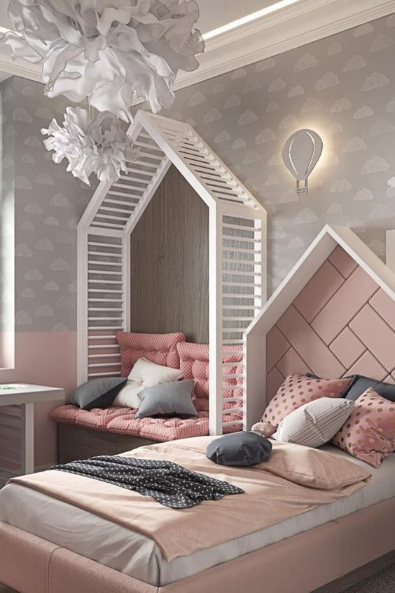 bedroom, pink wall, grey wall, wooden bench with pink cushion, pink house shaped bed platform