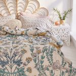 Bedroom, Rattan Headboard, Flowery Bedding, Whtie Side Table, White Wooden Floor