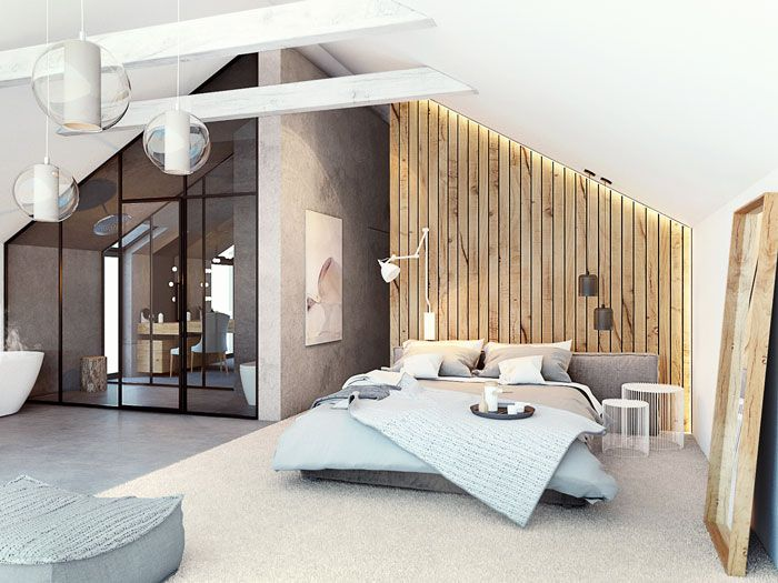 bedroom, seamless grey floor, white vaulted ceiling, white wall, wooden accent, grey wall, white beams, pendants, glass partition