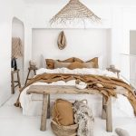 Bedroom, White Floor, White Wall, Wooden Bench, Wooden Side Table, Rattan Pendant,