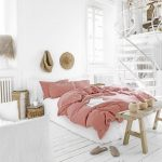 Bedroom, White Wooden Floor, White Wall, White Stairs, Pink Bedding, Wooden Bench