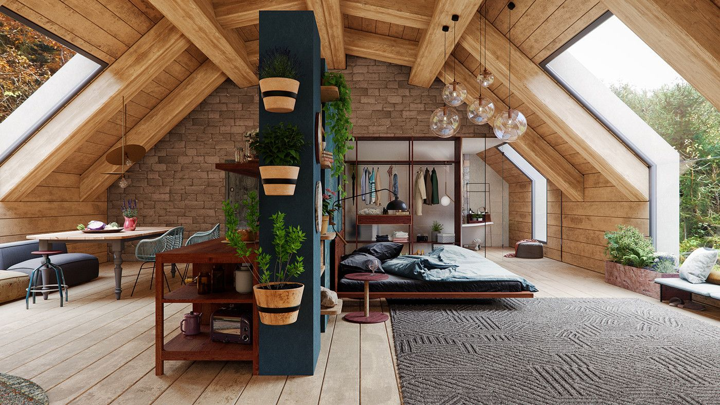 bedroom, wooden ceiling, bed, dining table, large glass window