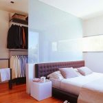 Bedroom, Wooden Floor, Black Tufted Headboard, White Shade Glss Partition, Hanging Rod And Hooks
