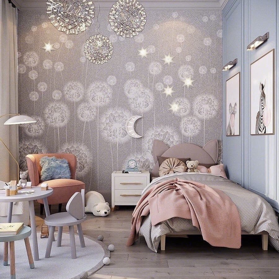 bedroom, wooden floor, blue wall, pendant, grey children study set, grey bed,