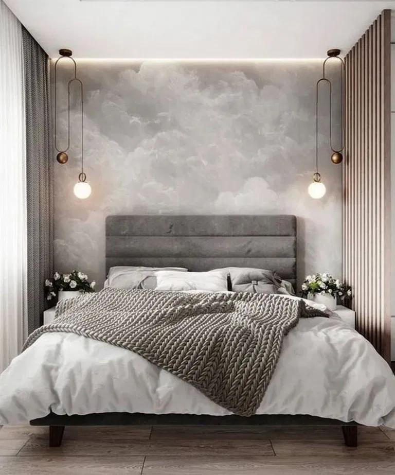 bedroom, wooden floor, grey accent wall, wooden grid ,pendants, grey headboard