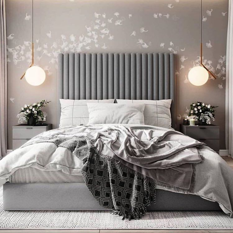 bedroom, wooden floor, grey rug, grey wall, grey headboard, grey side cabinet, pendants
