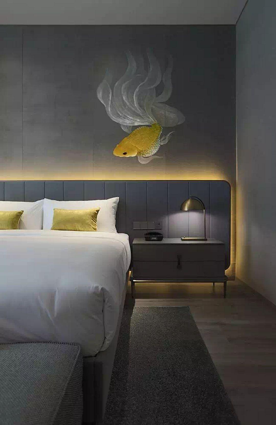 bedroom, wooden floor, grey wall, grey headboard, grey side cabinet, grey bed platform, grey bench