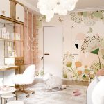 Bedroom, Wooden Floor, Wallpaper, Golden Table Compact, White Balloons Pendants, White Round Table,
