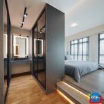 Bedroom, Wooden Floor, White Wall, Bed, Black Cabinet, Black Floating Table