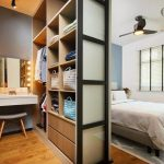 Bedroom, Wooden Floor, White Wall, Blue Wall, Wooden Cabinet, Grey Wall, White Floating Make Up Table, Stool