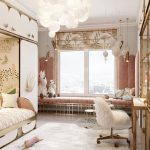 Bedroom, Wooden Floor, White Wall, Golden Bench With Pink Cushion, White Cabinet, Bed Platform, White Modern Chnadelier