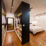 Bedroom, Wooden Floor, White Wall, White Bed, Black White Cabinet, Black Framed Mirror