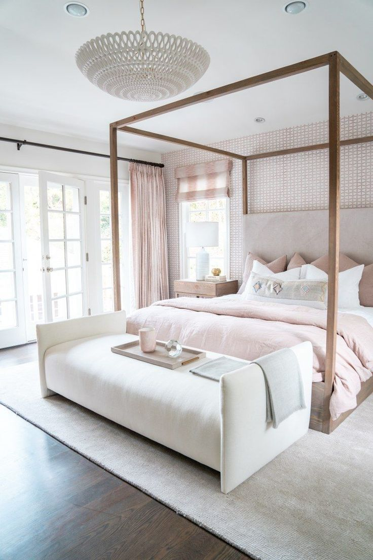 bedroom, wooden floor, white wall, wooden platform frame, white lounge bench, wooden side table