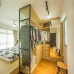 Bedroom, Wooden Floor, Wooden Cabinet, Glass Partitio