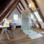 Bedroom, Wooden Vaulted Ceiling, Wooden Floor, Wooden Modern Table And Chair, Bed, Bathroom In The Midde