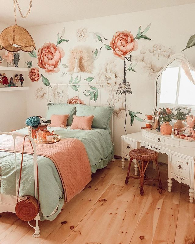bedroom, woodenf loor, white wooden make up table, wooden rattan stool, flowery wallpaper, rattan pendant, white floating shelves