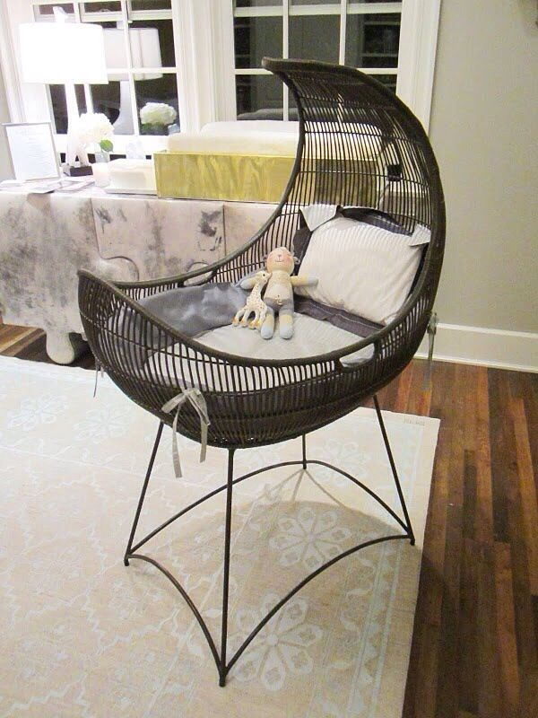 black rattan baby crib with curve, grey cushion