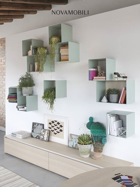 decorative shelves, light colored boxes