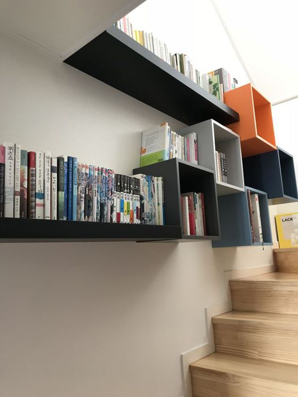 decorative shelves, long shelves, black white blue orange square boxes