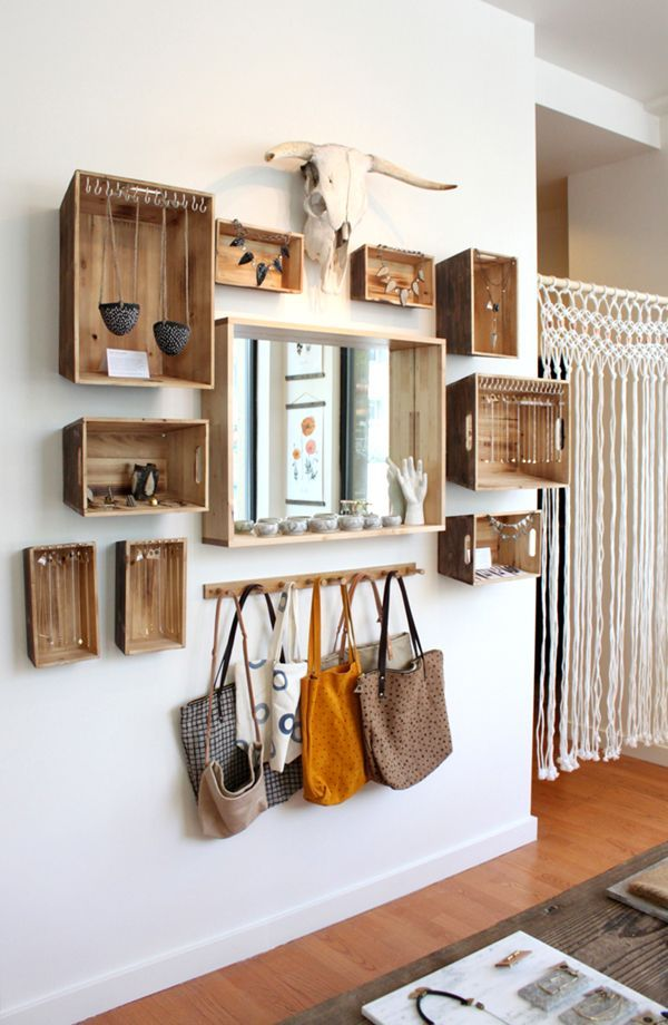 decorative shelves, wooden boxes, mirror, entrance